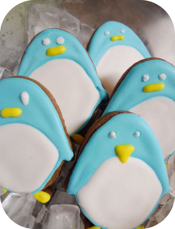 Penguin brownie cookies with royal icing