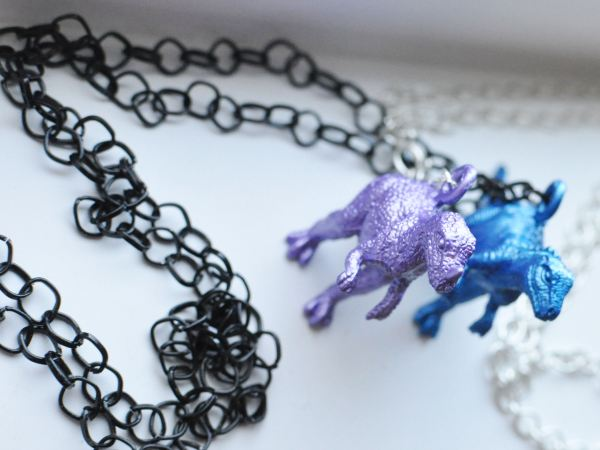 Metallic dino necklaces